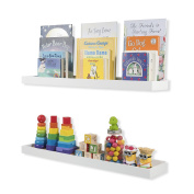 Nursery Room Décor Kid's Room Floating Wall Shelves Book Tray Toy Storage Display by 80cm Set of 2 White
