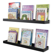 Nursery Room Décor Kid's Room Floating Wall Shelves Book Tray Toy Storage Display by 80cm Set of 2 Black