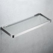 Velimax Bathroom Tempered Thickened Glass Shelf 36cm SUS 304 Stainless Steel Frame Rectangular Shelf Wall Mounted Contemporary Style Brushed Finish