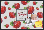 PinPix decorative pin cork bulletin board made from canvas, Recipe Board with Red Apples 90cm x 60cm (Completed Size) and framed in Satin Black