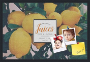 PinPix decorative pin cork bulletin board made from canvas, Recipe Board with Lemon Tree 80cm x 50cm (Completed Size) and framed in Satin Black