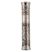 Modern Mezuzah Case With Filigree Design and Stones, 7 CM