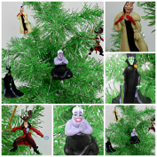 Villains 4 Piece Christmas Ornament Set Featuring Peter Pan's Captain Hook, Little Mermaid's Ursula, Dalmatains Cruella and Sleeping Beauty Maleficent