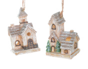 Christmas Traditions Ornament - LED Winter Houses - Set of 2