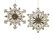Christmas Traditions Ornament - Antique Gold Snowflake - Set of 2
