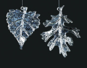 Christmas Traditions Ornament - Glass - Antique Silver Leaf - Set of 2