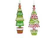 Christmas Traditions Ornament - Green/Red Trees - Set of 2