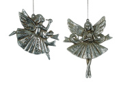 Christmas Traditions Ornament - Silver Angels - Set of 2