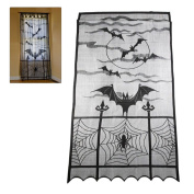 Halloween Curtains ,Woopower 100cm x 210cm Vintage Festival Ornaments Heritage Lace Bat Spider Web Curtains Props for Room Door Window Decors