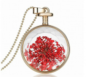WEIYI Creative Heart Pendant Flower Specimens Necklace Perfume Bottle Women Necklace