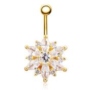 WEIYI Fashion Rhinestone Chrysanthemum Shape Body Piercing Navel Ring for Women