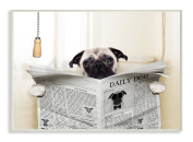 The Stupell Home Décor Collection Pug Reading Newspaper in Bathroom Wall Plaque Art