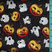 Halloween Ghost Jack-O-Lantern Spiderweb Cobweb Fabric Quilting Home Decor