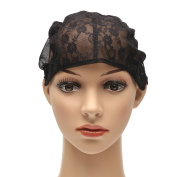 Black Lace Wig Cap Polyester Stretch Mesh Cap Weaving Cap Hairnets With Adjustable Straps For DIY Wig