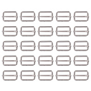 Shappy 25 Pieces 2.5cm Slide Buckle Triglide Slides Webbing Slider for Fasteners Strap Backpack, Silvery