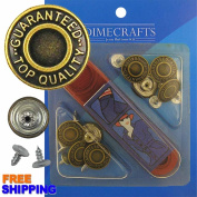 17 mm No-Sew Brass 8 Jean Tack Buttons w/Tool
