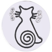 Lovmoment Snaps 20MM Cat Charms Silver Plated with Rhinestones Snaps Jewellery