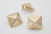 Giant Pyramid Studs - Size 25 - Ideally used for Denim and Leather Work - Classic Two-Prong Studs - Available in Golden Colour - Pack of 25 studs and spikes