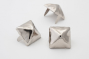 Large Pyramid Studs - Size 16 - Ideally used for Denim and Leather Work - Classic Two-Prong Studs - Available in Silver Colour - Pack of 50 studs and spikes