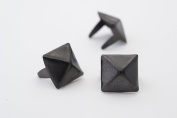 Pyramid Studs - Size 10 - Ideally used for Denim and Leather Work - Classic Two-Prong Studs - Black Coloured - Pack of 500 studs and spikes