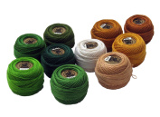 Vog Perle Cotton Size 8 Embroidery Threads - Set of 10 Balls (10gr Each) - Green & Beige Shades