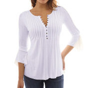 AutumnFall Women Spring Autumn Flare 3/4 Sleeve Slim V Neck Buttons Blouse Fashion Tops Shirt Tee