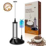 ROSIMO Milk Frother Handheld Battery Operated Wand Stainless Steel Foam Maker For Coffee, Latte, Cappuccino, Hot Chocolate, Include Stand and Brush