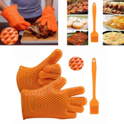AMA(TM) Silicone Kitchen Cooking Gloves +Brush Heat Resistant Cooking Utensils Baking Tool