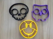 Feesy Skull+Owl+Smile Egg Mould,Biscuit Mould Cookie Cutter