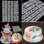 Vibola 6 PCS Set Plastic Letters & Numbers Cake Shape Embossing Stencil Decoration Cutter Cookie Cake decorating tools Cupcake Kitchen fondant Kitchen accessories Cake mould Stand