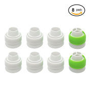 Sungrace 8 Pack Russian Piping Tip Coupler, Easy to Attach and Swap Large Size Russian Piping Tips Icing Nozzles