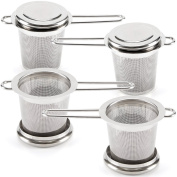 Tea Infuser EZOWare [Set of 4] Premium Stainless Steel Filter Reusable Mesh Filter Strainer With Lid and Handle, Perfect for Steeping Loose Leaf Tea