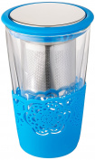 SiliBake Loose Leaf Tea Infuser Brewing System Cup with Removable Stainless Steel Steeper Strainer Basket, Blue