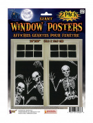 Forum Novelties Skeleton Window Posters (Set of 2), 80cm x 120cm , Black