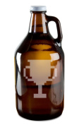 8 Bit Trophy Video Game Style Hand-Made Etched Glass Beer Growler 1890ml