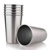 Tosnail 440ml Stainless Steel Pint Cups Water Tumblers - Great for Kid Toddler Baby Sanitary - Pack of 6