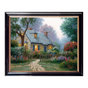 Canvas Oil Painting Prints Gorgeous Home in the fence Natural Scenery Landscape with Wood Frame for Wall Decoration, Easy to Hang, 50cm x 41cm