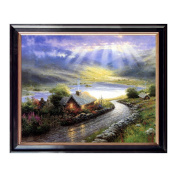 Landscape Oil Paintings Canvas with Wood Frame Prints Gorgeous Hill and Log Cabin light of hope on the lake Picture for Home or Office Wall Decoration, Easy to Hang, 50cm x 41cm