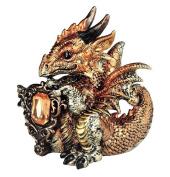 George S Chen Gold Tone Gemini Dragon Figurine Holding Glimmering Zodiac Birth Stone Orange Metallic 71566