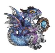 George S Chen Blue And Purple Metallic Aquarius Dragon Holding Zodiac Stone Rainbow Figurine 71559