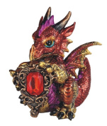 George S Chen Red Aries Dragon Figurine Holding Zodiac Stone Ruby Red Glass Gold Tones 71565