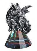George S Chen Silver Dragon on Pyramid Glass Rainbow Prism Base-Figurine Shelf Decor 71685