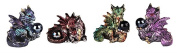 George S Chen 4 Pc. Dragon Miniture Figurine Set Each Holding a Black Pearl (Green, Blue, Red, And Purple) 71670 update