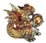 George S Chen Yellow And Red Leo Dragon FIgurine Holding Zodiac Birth Stone Horoscope 71560