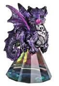 George S Chen Purple Dragon figurine on Pyramid Glass 8.9cm 71698