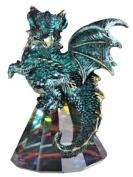 George S Chen Green Dragon on Pyramid Glass rainbow prism base figurine 8.9cm 71696