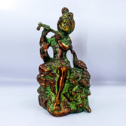 The Holy Mart Brass Krishna Murti with Peacock