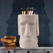 Vellhater Creative Sandstone Easter Island Stone Statue Pen Holder for Home Decor