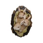 Comfy Hour 23cm Easter Three Rabits Gathering In Tree Cavity Wall Hanging Decoration, Optionally With/Without Hook, Stone Resin Figurine, Brown