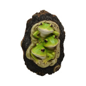 Comfy Hour 23cm Easter Three Frogs Gathering In Tree Cavity Wall Hanging Decoration, Optionally With/Without Hook, Stone Resin Figurine, Green & Dark Brown